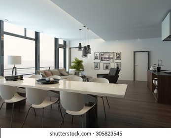 Luxury modern apartment living room interior with parquet floor, white dining table, lounge area and kitchen with a kitchen island. 3d Rendering.