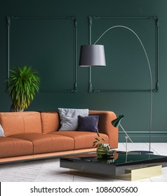 Luxury modern dark green living room interior with white parquet floor, brown sofa, floor lamp and coffee table , 3d render