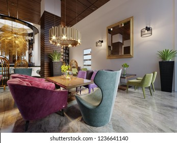Luxury modern european design cafe interior in downtown with colorful furniture. 3d rendering