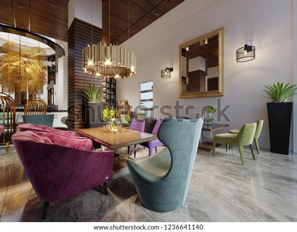 Luxury Modern European Design Cafe Interior Stock