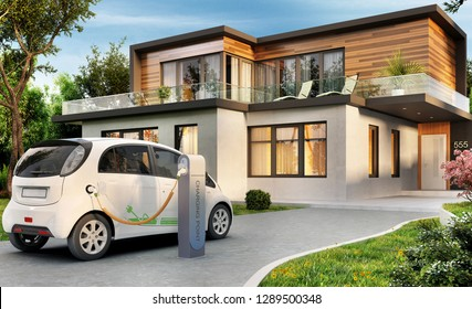 Luxury modern house and electric car. 3D rendering