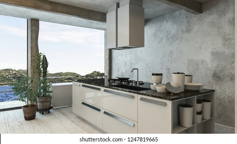 A luxury, modern, industrial styled penthouse kitchen with a pool view. 3d Rendering