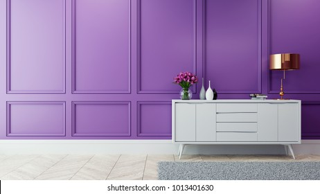 Luxury modern interior of living room ,Ultraviolet home decor concept ,white sideboard and gold lamp on white purple wall and wood floor ,3d render