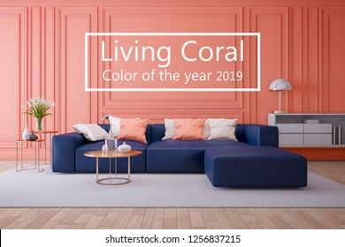 Luxury modern interior of living room ,Living coral color of the year 2019 ,blue navy sofa and gold table with gold lamp on light ping wall and wood floor ,3d render
