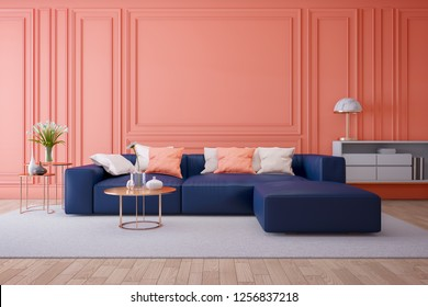 Luxury modern interior of living room ,Living coral decor concept ,blue navy sofa and gold table with gold lamp on light ping wall and woodfloor ,3d render