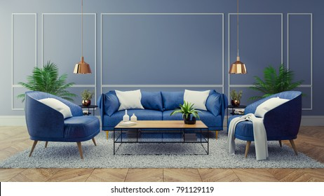 Luxury modern interior of living room ,Blue room decor concept ,Blue sofa and black table with gold lamp on light blue wall and woodfloor ,3d render