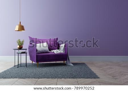 Modern Interieur Living : Luxury modern interior living room ultraviolet stockillustration