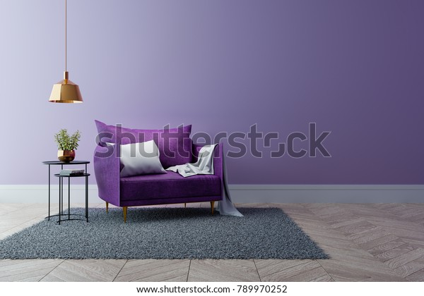 Luxury modern interior of living room ,Ultraviolet home decor concept ,purple sofa and black table with gold lamp on light purple wall and woodfloor ,3d render