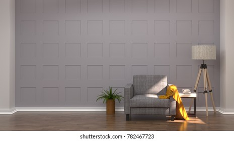 luxury modern living room with armchairs in front of gray wall white lamp and sideboard 3d rendering Vintage empty wall modern mid Century room interior wooden floor