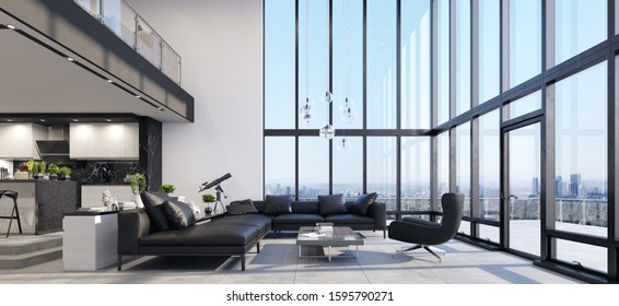 Luxury modern penthouse interior with panoramic windows, 3d render
