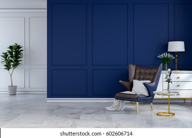 luxury modern room interior,blue lounge chair with white lamp and white sideboard on blue wall  /3d render