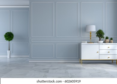 luxury modern room interior,empty room ,white sideboard with  lamp and plant on light gray wall and marble floor /3d render