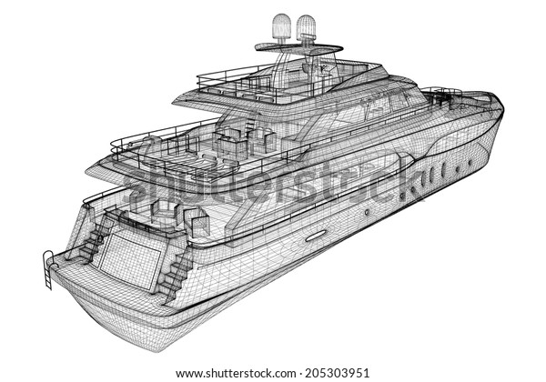 Luxury Motor Yacht 3d Model Body Stock Illustration 205303951