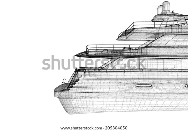 Luxury Motor Yacht 3d Model Body Stock Illustration 205304050