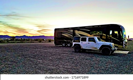Luxury Motorhome recreational vehicle RV parked on BLM land in the desert at sunset