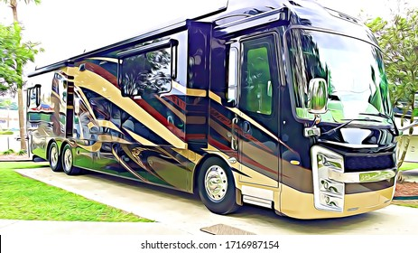 Luxury Motorhome recreational vehicle RV parked at campground on a concrete pad