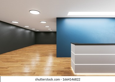 Luxury office hall with reception desk and copy space on blue wall. Workplace and lifestyle concept. 3D Rendering