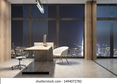 Luxury office interior with equipment and night city view. Workplace concept. 3D Rendering