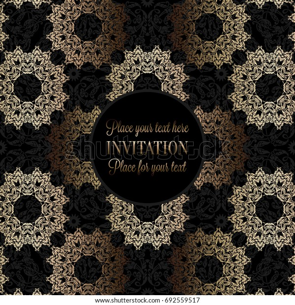 Luxury ornament, lace in antique black and gold colors with vintage frame, victorian style invitation, wedding or greeting card, baroque background pattern, rich golden decor, perfect design template.