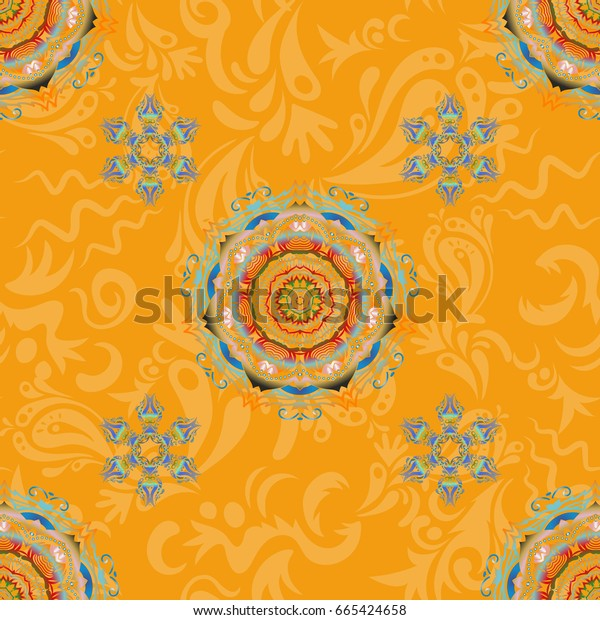 Luxury ornament for wallpaper, invitation, wrapping or textile. Royal blue and green seamless pattern.