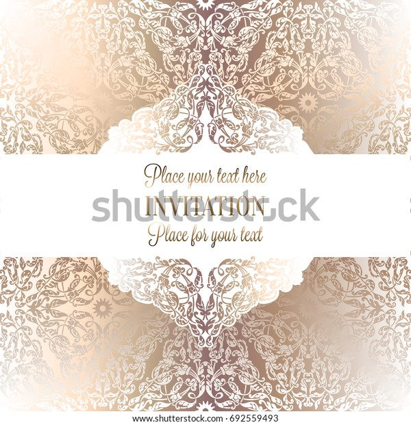 Luxury ornamental invitation card, lacy decoration in antique white and gold colors with vintage frame, victorian style wedding or greeting card, baroque background pattern, rich wealthy design.