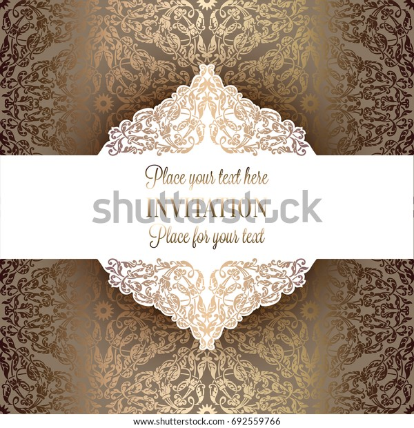 Luxury ornamental invitation card, lacy decoration in antique beige and gold colors with vintage frame, victorian style wedding or greeting card, baroque background pattern, rich wealthy design.