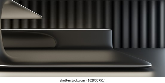 Luxus parametrischer abstrakter architektonischer minimalistischer Hintergrund. Zeitgenössischer Showroom. Moderne Schwarze Ausstellung Empty Galerie. goldener Kronleuchter. Innere Hintergrundbeleuchtung. 3D-Illustration