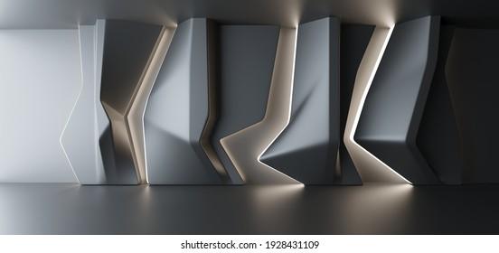 Luxus parametrischer abstrakter architektonischer minimalistischer Hintergrund. Zeitgenössischer Showroom. Moderner Schwarzer Ausstellungstunnel. Leere Galerie. Stell, Tisch! Innere Hintergrundbeleuchtung. 3D-Illustration und Rendering.