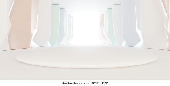 Luxus parametrischer abstrakter architektonischer minimalistischer Hintergrund. Zeitgenössischer Showroom. Moderner bunter Glasausstellungstunnel. Leere Galerie. Hintergrundbeleuchtung. 3D-Illustration und Rendering.