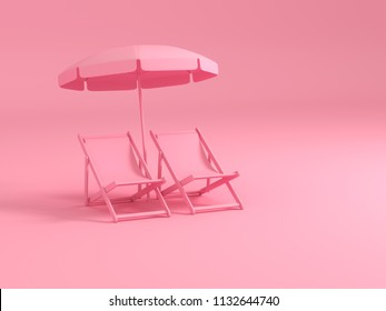 Luxury pink chairs and umbrella on pastel pink background. Summer with love. 3d rendering illustration