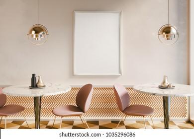 Luxury Poster Mockup in Restaurant interior. 3D rendering