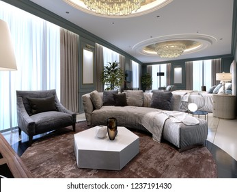 Luxury presidential suite with a bedroom and a large bed and a living room with a sofa and a TV stand. 3d rendering