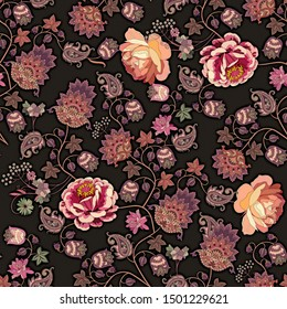 Luxury print for fabric in ethnic style. Seamless romantic pattern with garden and fantasy flowers, leaves, little berries and paisley on black background.