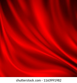 Luxury red satin smooth fabric background for celebration, ceremony, event invitation card or advertising poster. Illustration