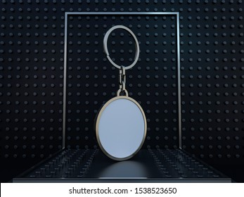 Luxury round keychain with space for text or logo. 3D rendering