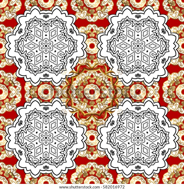 Luxury, royal and Victorian concept. Vintage baroque floral seamless pattern in gold over red. Ornate decoration. Golden element on red background.