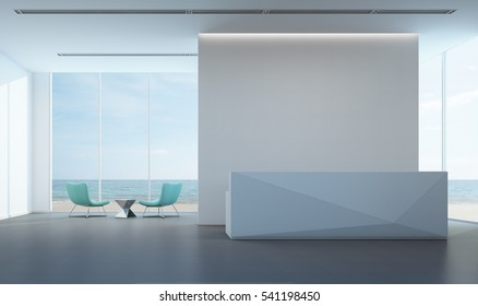 Luxury sea view lobby with white wall in modern office - 3D rendering