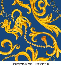 Luxury seamless pattern with golden lion and Baroque elements. Golden chain, border, frame scroll accessories and jewelry. Victorian, Rococo, Baroque style background.