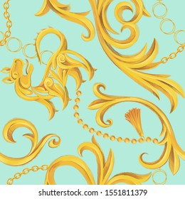 Luxury seamless pattern with golden lion and Baroque elements. Chain, border, accessories and jewelry. Victorian, Rococo, Baroque style background.