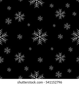 luxury seamless pattern with white snowflakes on a dark background. Rasterized copy
