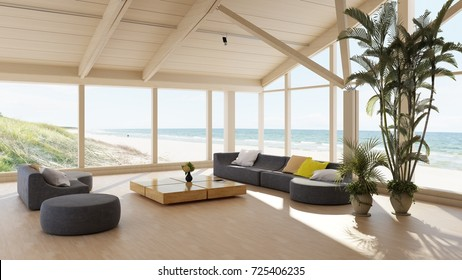 Luxury seaside villa with spacious living room overlooking the ocean through large wrap around view windows with comfortable lounge suite and large potted plant. 3d render