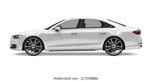 Luxury Sedan Car Isolated (side view). 3D rendering