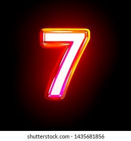 luxury shining red design font - number 7 isolated on black background, 3D illustration of symbols