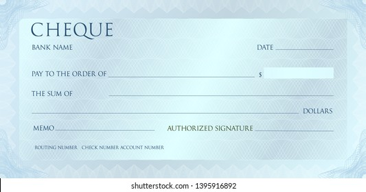 Luxury silvet cheque template with vintage guilloche. Check with abstract watermark, border. Metallic background for banknote, money design, bank note, voucher, gift certificate, coupon, currency