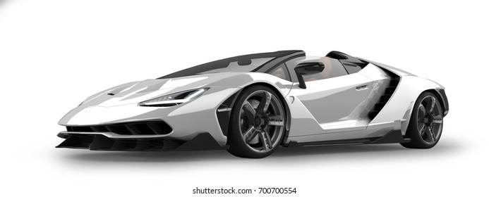 Luxury Sports Car 3D Rendering Isolated on White