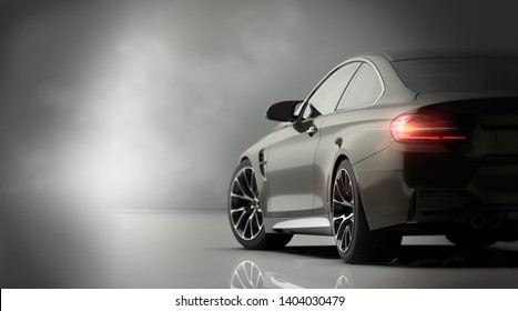 Luxury sports car coupe indoor studio render scene (with grunge overlay), tail lights detail - rear view - 3d illustration