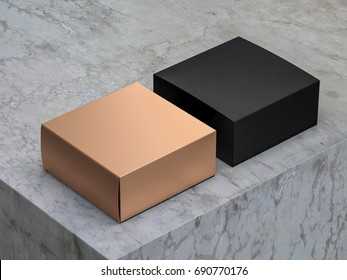 Luxury Square Golden Box Mockup with Black cover, 3d rendering