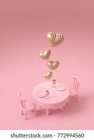 Luxury stripe gold heart on romantic dining table on pink background. Valentine dining with love. 3d rendering illustration