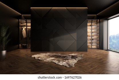 luxury studio apartment with a free layout in a loft style in dark colors. Stylish modern room area with wardrobe, cozy room with soft animal rug carpet. 3d render