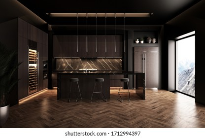 Luxury studio apartment with a premium contemporary kitchen loft style in dark colors. Stylish modern room area with large window. 3d render
